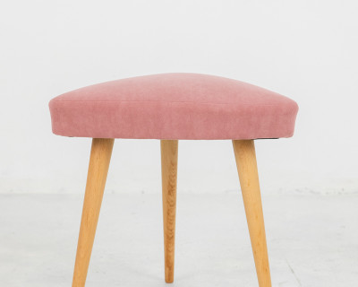 Restored Tripod Seat with Powder Upholstery