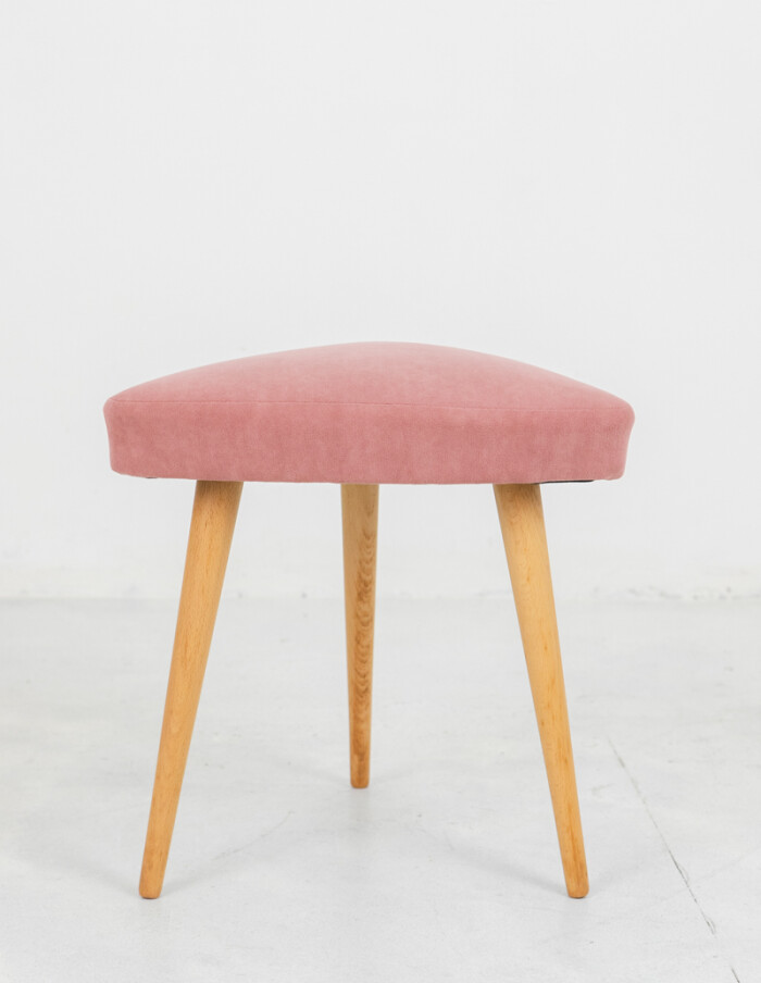 Restored Tripod Seat with Powder Upholstery-1