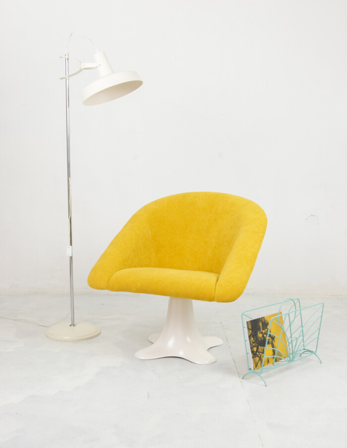 Space Age Chair with Stunning Yellow Upholstery-10