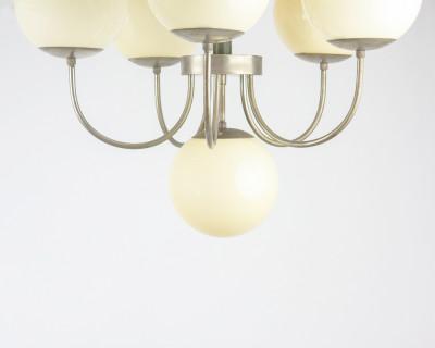 Wonderful Art Deco Chandelier with 6 Glass Shades
