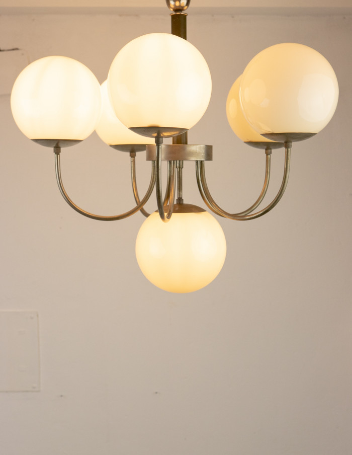 Art Deco Chandelier with Glass Shades-9