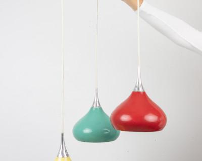 Colorful Dropshaped Metal Pendant, 1970's