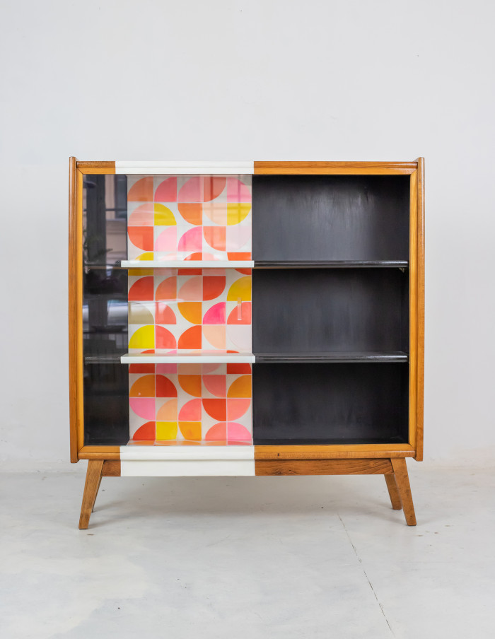 Hand Painted Mid-Century Cabinet by Erika Balogh-1