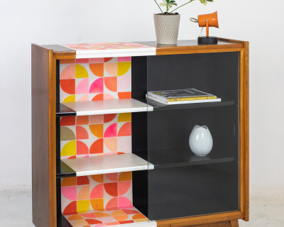 Beautiful Hand Painted Mid-Century Cabinet by Erika Balogh