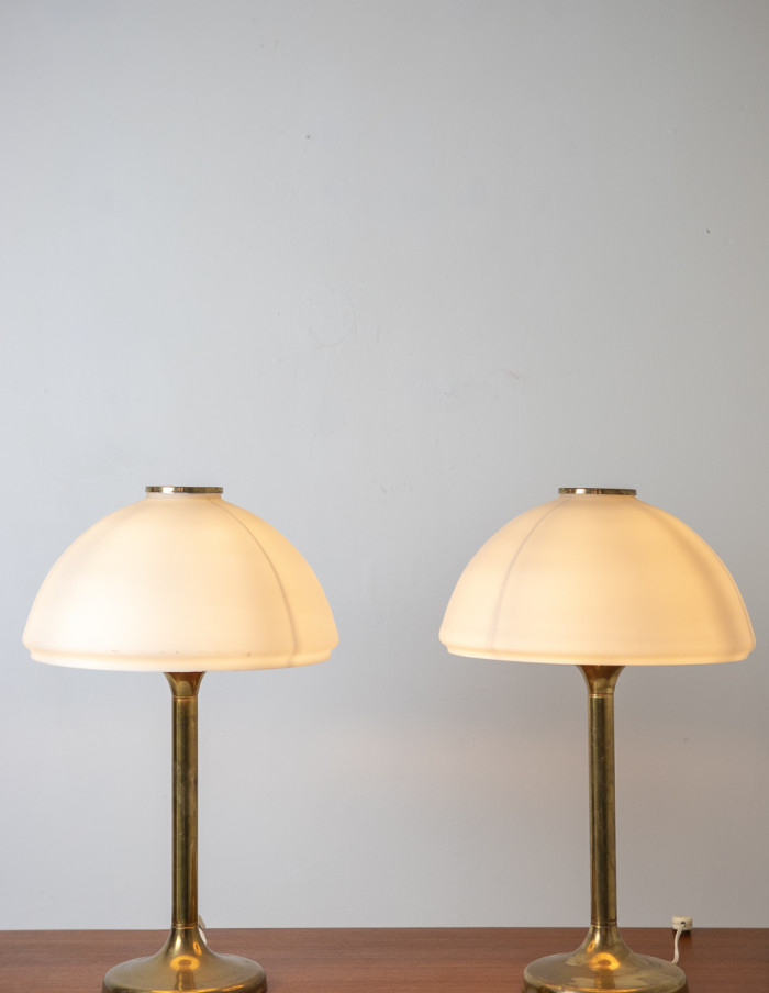 Mid-Century Large Copper Table Lamp with Glass Shade-10