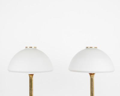 Art Deco Large Table Lamps, Copper & Glass