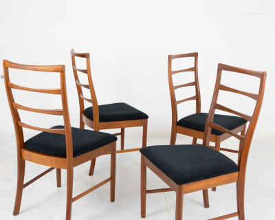 Set of 4 Restored McIntosh Dining Chairs with New Upholstery