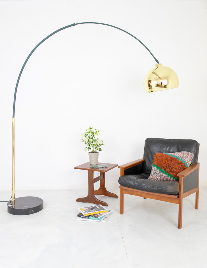 Vintage Giant Green and Copper Floor Lamp-10