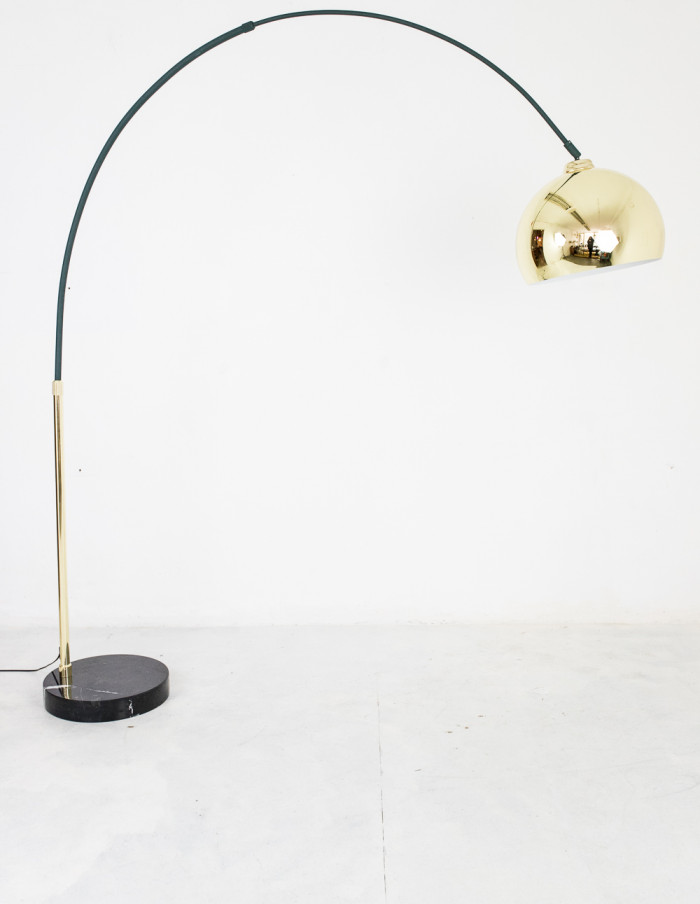 Vintage Giant Green and Copper Floor Lamp-9